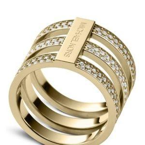 Michael kors women triple band goldtone ring sz 8